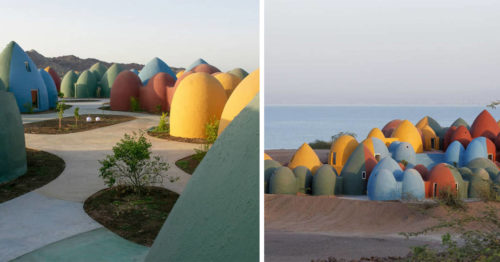 Domes of Color Adorn the Communal Living Village of Hormuz Island