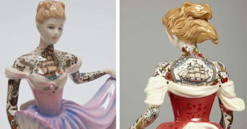 Neck to Wrist Tattooed Porcelain Ladies in Ball Gowns by Jessica Harrison