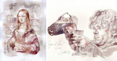 Wine Paintings! By Serbian Talent and Creator of 'Winerelle Art'